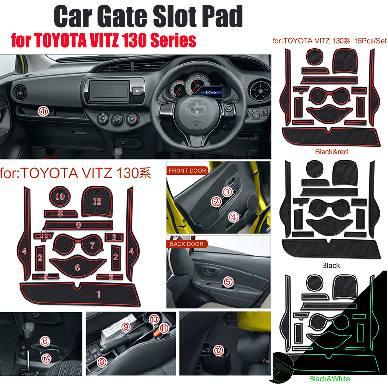 15pcs/set Sllica Gel Car Cup Mat Door Gate Slot Pad Interior Decoration Accessory Fit For TOYOTA VITZ 130 Series Non-Slip Mat