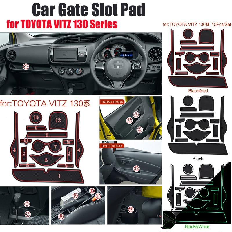 15pcs/set Sllica Gel Car Cup Mat Door Gate Slot Pad Interior Decoration Accessory Fit For TOYOTA VITZ 130 Series Non-Slip Mat