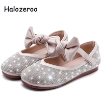 New 2019 Autumn Baby Girls Pu Leather Shoes Children Bow Flats Kids Rhinestone Brand Shoes Princess Pink Shoes Dance Mary Jane