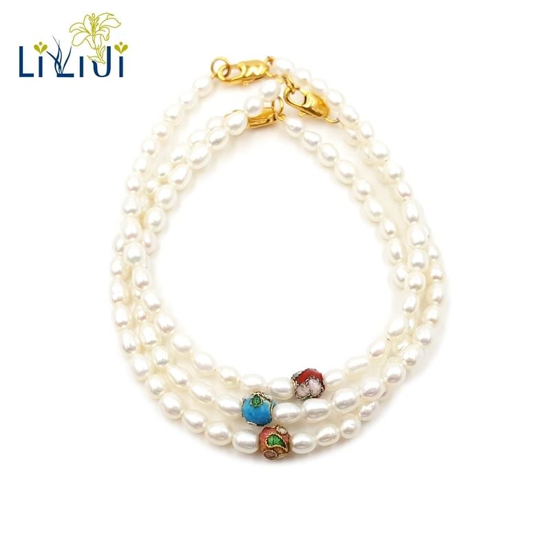 LiiJi Unique vraie minuscule perle d'eau douce Chinoiserie 3 pcs/lot Bracelet mignon pour les femmes bijoux de mode beau cadeau