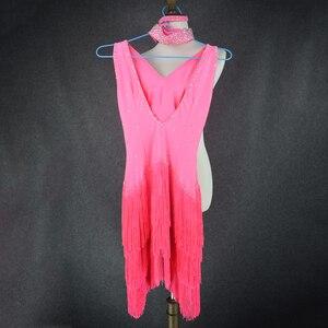 Image 5 - Donne Del Ricamo di lusso abbigliamento per la danza latino spandex pietre latino vestito da ballo della signora di ballo latino vestiti di prestazione delle ragazze del vestito