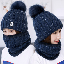 Women Neck Warmer Hat Set 2pcs Winter Earmuff Beanies Men Caps Knitted Hat Scarf Set Lady Collars Pom poms Skullies Beanie Hats все цены
