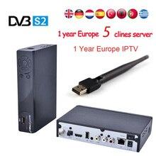 Best HD IPTV Box IPS2 Plus DVB S2 TV Receiver 1 Year Europe IPTV 2500+ Channels DVB-S2 USB WIFI Set Top Box  Satellite Receiver