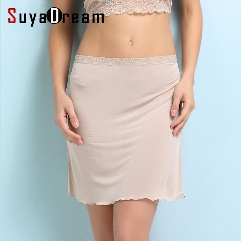 Natural Silk Half Slips 100% REAL SILK Wmen Slips Solid Nude White Basic Style Slip Dress Anti Emptied New Underwear