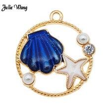 6pcs Enamel Charms For Earrings Sea Shell Star Cute DIY Keychain Jewelry Findings Necklace Green Blue Orange Summer