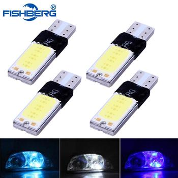 4pcs/lot T10 LED Light Bulbs 194 168 W5W COB Canbus No Error Parking Brake Dashboard Lamps White Blue Crystal Blue FISHBERG image