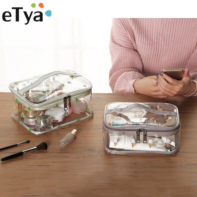 eTya Multifunction PVC Transparent Cosmetic Bag Women Travel Make up Toiletry Bags Cosmetics Organizer Case Makeup Bag Tote custom transparent clear pvc make up tote bag with double handles
