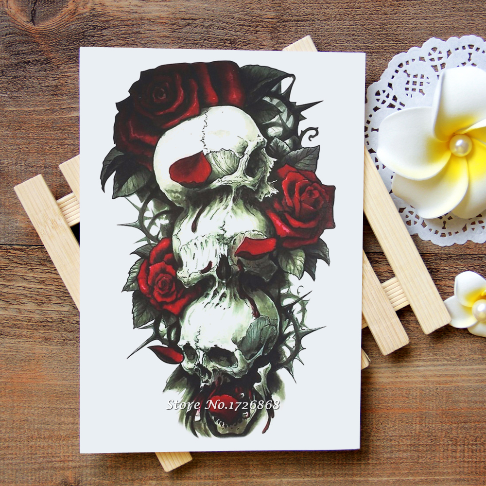 Waterproof Temporary Tattoos Stickers Rose skull Tattoo