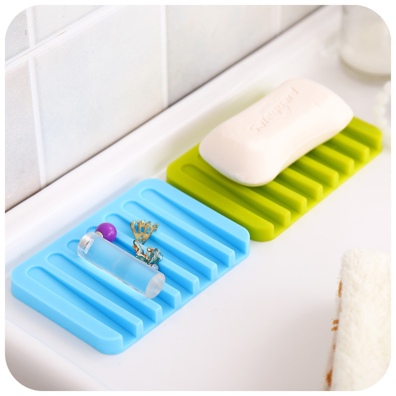 Us 4 45 10 Off 2pcs Silicone Drain Soap Dish Flexible Holder Soapbox Shower Tray Storage Rack Organizer Bathroom Accessories In Holders