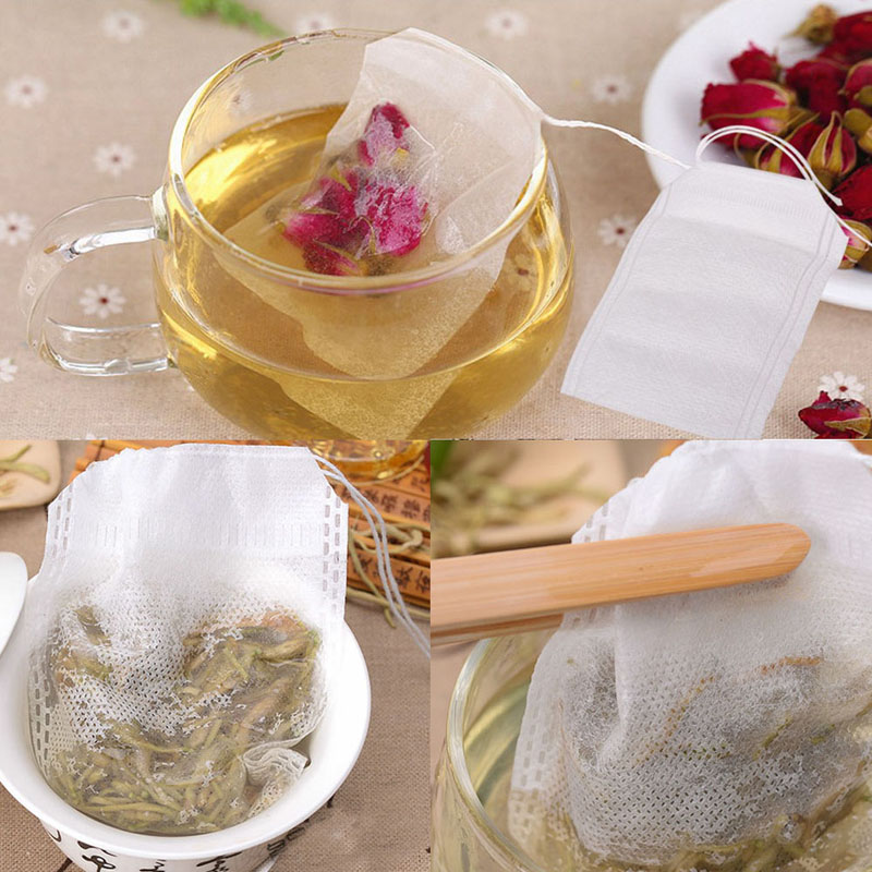 100pcs/set Empty Teabags String Heat Seal Filter Paper Herb Tea Bag  For Tea/spice/herbal Powder
