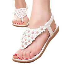 Women's Fashion Sweet Summer Bohemia Sweet Beaded Sandals Clip Toe Sandals Beach Shoes Herringbone Sandals Shoes 1PC Gift