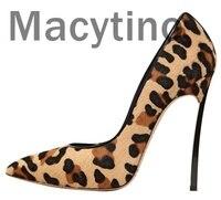 Macytino Leopard Повседневное каблуки Для женщин Туфли лодочки Офисные женские туфли острый носок пикантные флоковые высокие каблуки 12 см Свадебн