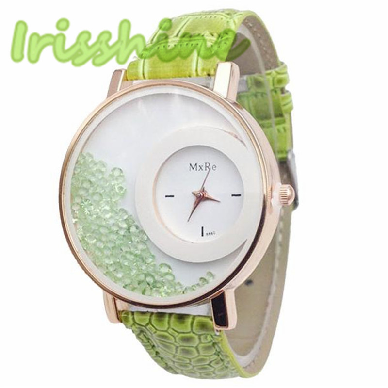 Irisshine i0285 Женщины часы Повседневная Diamond Зыбучие Пески Pattern Кожаный Ремешок Аналоговый Кварц Vogue Наручные Часы леди девушка подарок