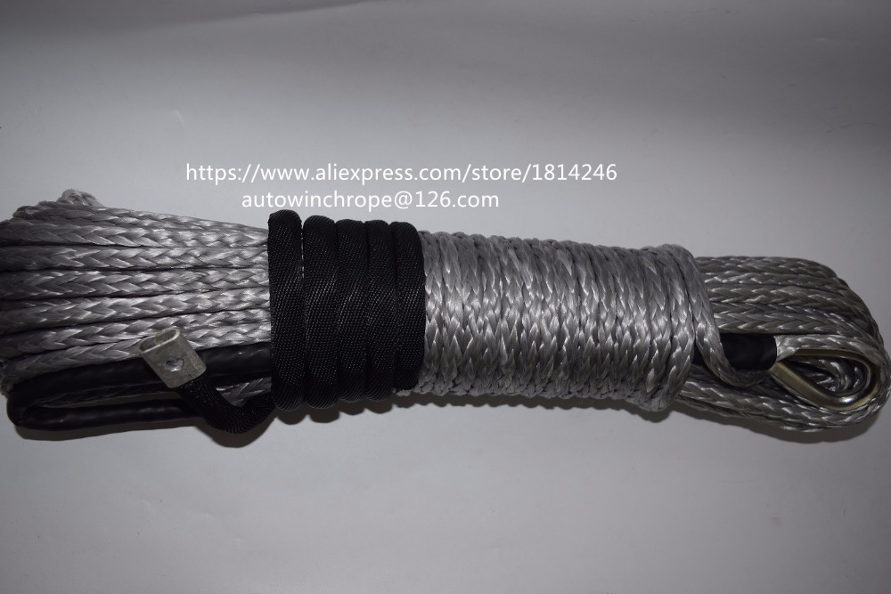 Free Shipping Grey 8mm*30m Winch Rope Extension,Off Road Rope,Coated Winch Cable,Kevlar Winch Cable free shipping 8mm 30m red synthetic kevlar winch cable winch rope extenstion atv winch line uhmwpe rope