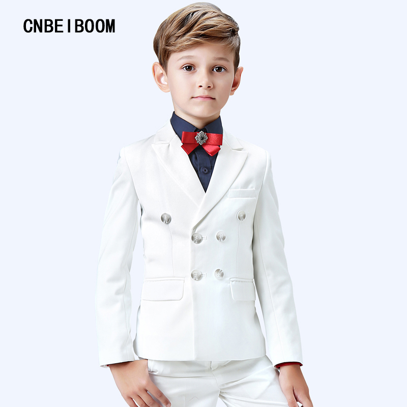 High Quality Formal Baby Boy Clothing Set White wedding suit Piano playing Party Dress For Children 3-16T Suits 5-Piece Clothes high quality school uniform new fashion baby boys kids blazers boy suit for weddings prom formal gray dress wedding boy suits