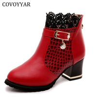 COVOYYAR 2018 Snake Pattern Ankle Boots Sexy Lace Cuff Thick Heel Women Boots Fall Winter Fashion Black/Red Women Shoes WBS324