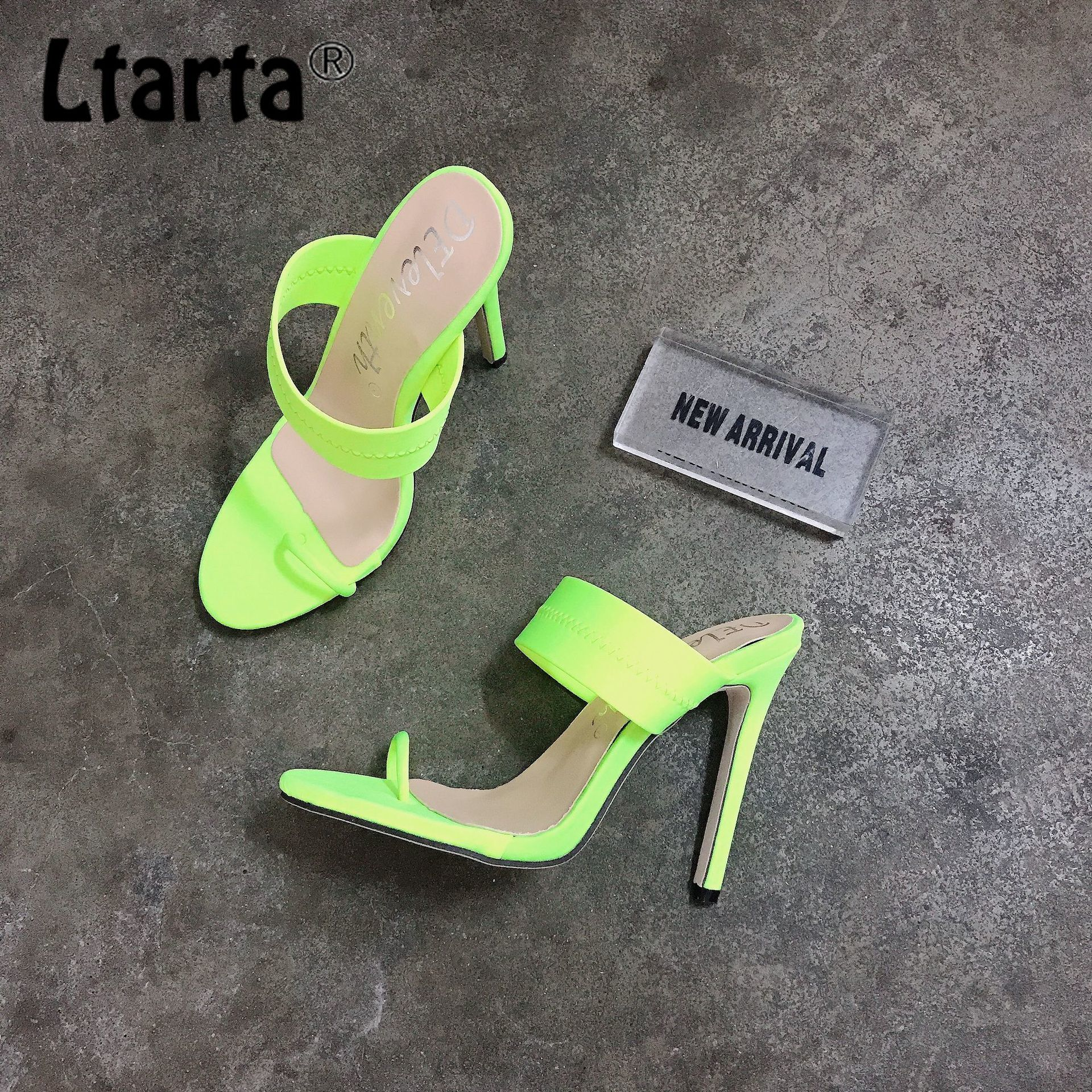 LTARTA Supply Sandals Women Heeled-Heels Large-Size Word Candy with Shoes 43 12CM ZL-B77