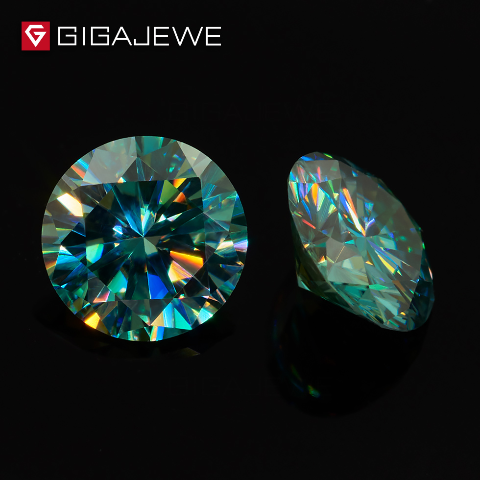 GIGAJEWE Cyan Blue 7 8 5mm VVS1 Round Excellent Cut Loose Diamond Test Passed Moissanite Lab