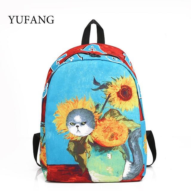 Girasol Las Gato Yufang Para Van Mujeres Escuela Mochila Adolescentes Gogh Niñas Mochilas Impresión x8YR8