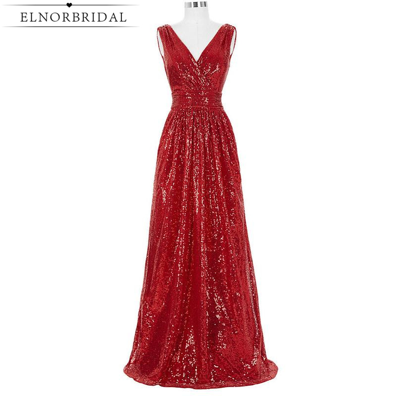 Red Sequins Prom Dresses Long 2017 Formal Women Special Occasion