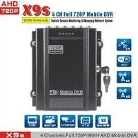 Антивибрационные 4CH записи HDD 4 г Мобильный DVR, 720 P ahd dvr для шины/car/машины/грузовик, X9s