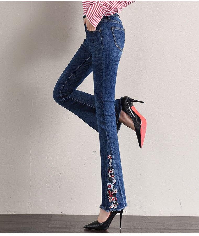 Casual Para Más Mujer Tamaño Alta Denim Primavera Las Flare Pantalones Bordado Capris Yqy0812 El Mujeres Adelgaza Jeans Cintura Azul Otoño Nueva rnxXq8vTwr