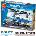 Модель строительство комплект совместим с lego Полиции Тяжеловесных Вертолет 3D блок Обучающие модель здания игрушка хобби для детей