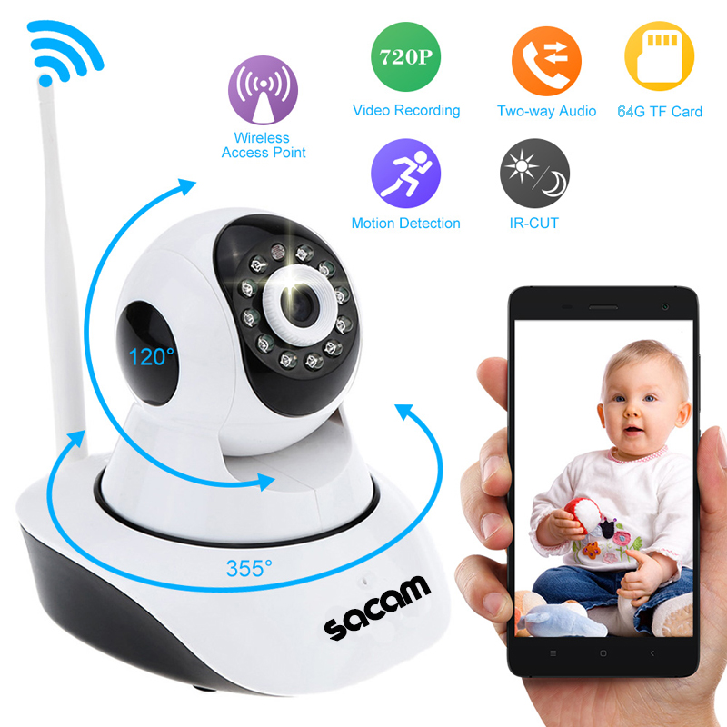 HD Wireless IP Camera for Home Security Surveillance via WiFi Internet with Night Vision and Two Way Audio Support 64GB TF Card sacam 720p wifi wireless ip camera with two way audio ir cut night vision video onvif p2p network webcam for home security alarm