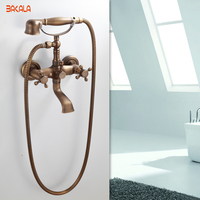 BAKALA Two Handle Contemporary Antique Brass Shower Faucet with Shower Head + Hand Shower