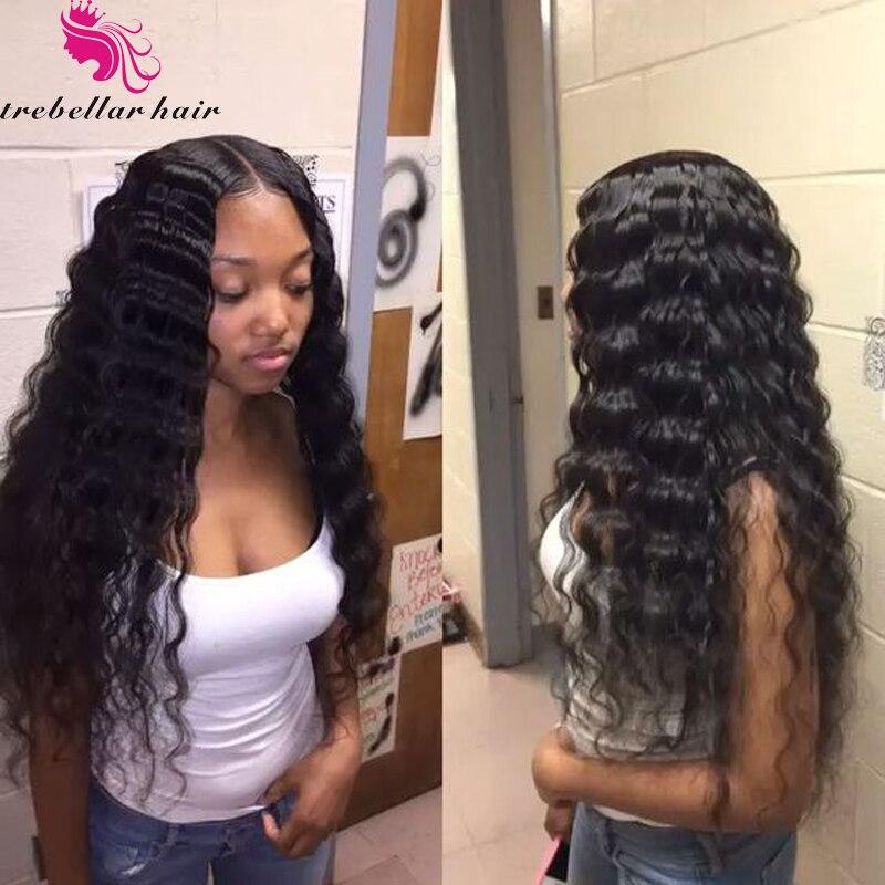 Brazilian Deep Wave Full Lace Human Hair Wig Malaysian