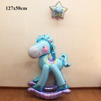 baby boy girls birthday balloons children's birthday party decoration supplies hobbyhorse inflatable helium foil baby balloon