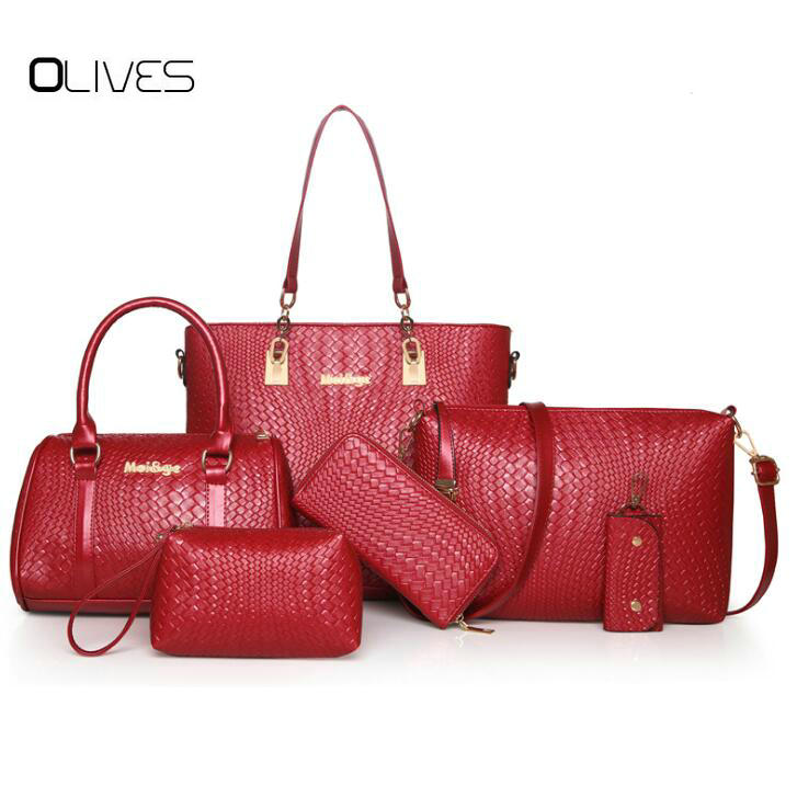 OLIVES Buy 1 Got 6 Pieces Bag Set Handbag Women Top-Handle Big Capacity Female Fashion Shoulder Bag Purse Women PU Handbag women bag set top handle big capacity female tassel handbag fashion shoulder bag purse ladies pu leather crossbody bag