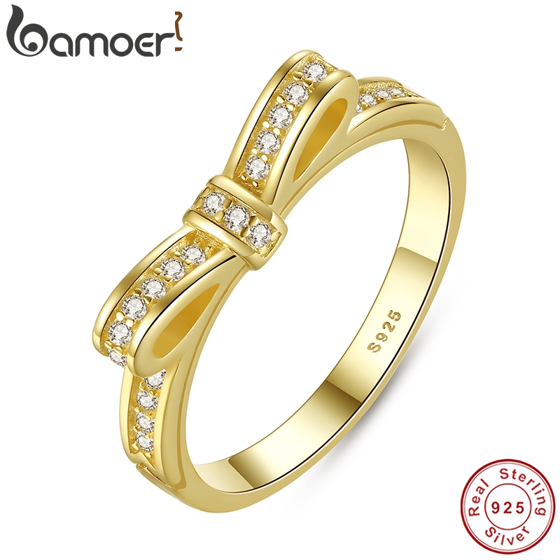 BAMOER Stackable Ring Wedding-Jewelry Knot Micro-Pave Rose-Color 100%925-Sterling-Silver