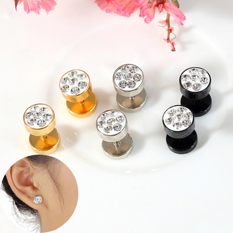 Sale barbell dumbbells stainless steel rhinestones stud earrings Women men earrings Fashion jewelry wholesale