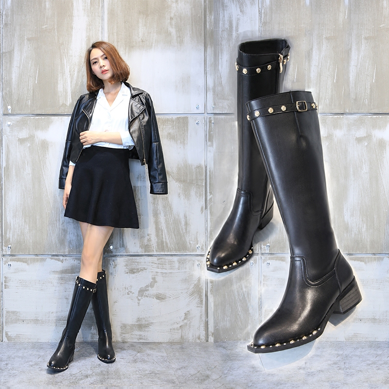 2017 winter newest riding boots black leather rivets studded knee high boots thick heels boots for woman crystal boots