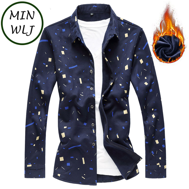 MINWLJ Brand  Plus Size 3XL 4XL 5XL 6XL 7XL Men's Winter Dress Shirt Long Sleeve Fashion Print Shirts 51