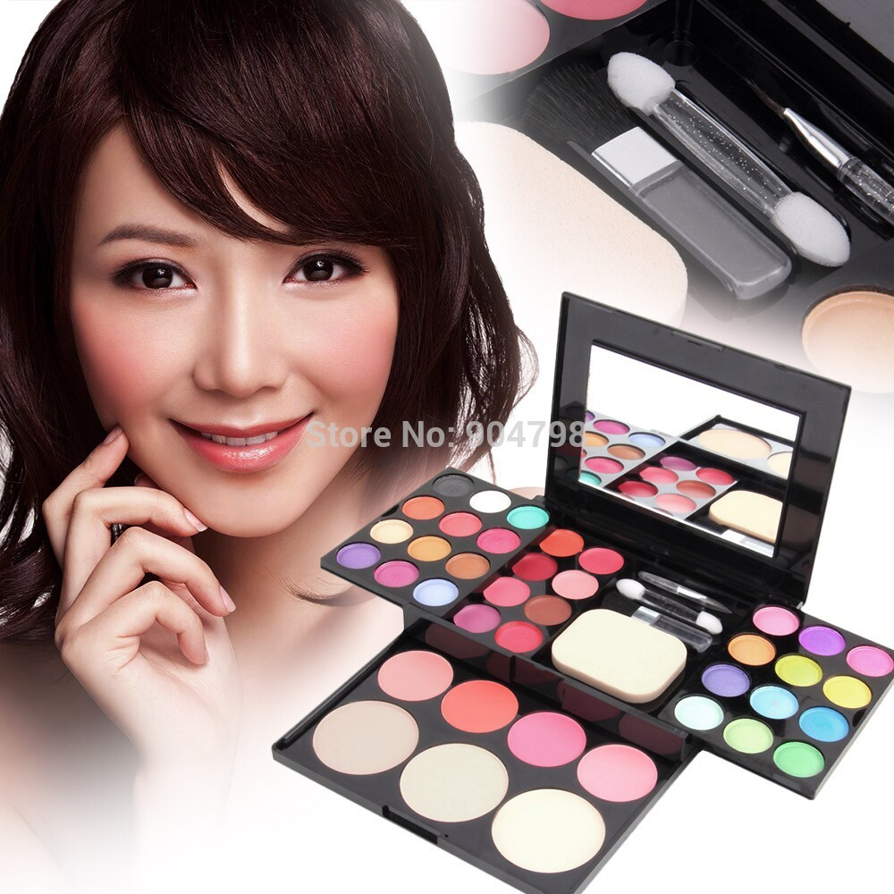 24 color palette eyeshadow Make Up Palette Set Eyeshadow Lip Gloss Foundation Powder Blusher Puff Tool Fashion