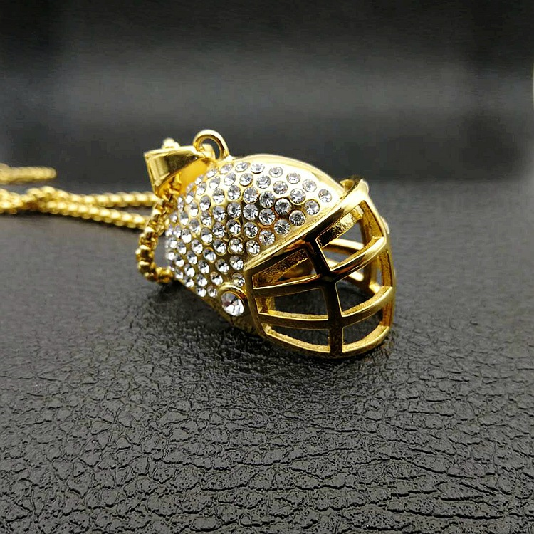 High-quality Gold Iced Out Crystal Sport Football Paseball Helmet Necklace Pendant Jewelry With Rope Chain Hip hop