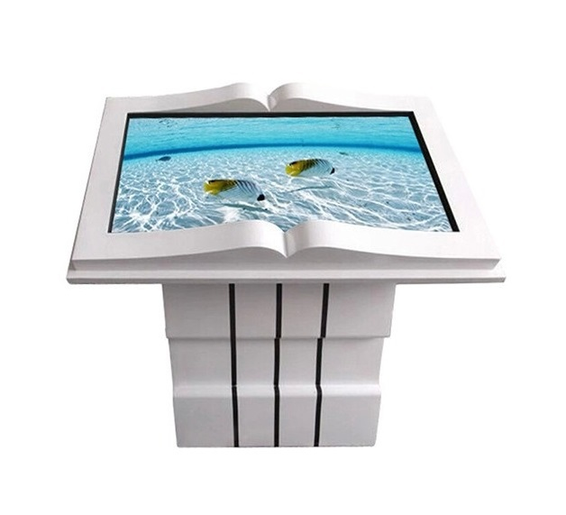 "55"" inch stands all in one touchscreen PC advertising displays,library information inquiry touch screen book shape kiosk"