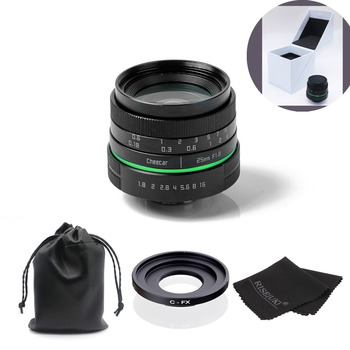 New green circle 25mm CCTV camera lens for the Fujifilm X-E1, X-Pro1 with c-fx adapter ring + bag + big box +Free Shipping +Gift