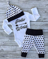 New Spring Fall Baby Girls Boys Clothing Infant Girl Clothes Hello World Arrow Fashion Long Sleeve