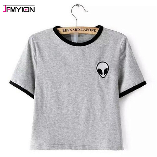 Verano 2017 alien impreso Camisetas de la ropa para las mujeres camisetas tee shirt femme poleras de mujer camiseta mujer camisetas tops