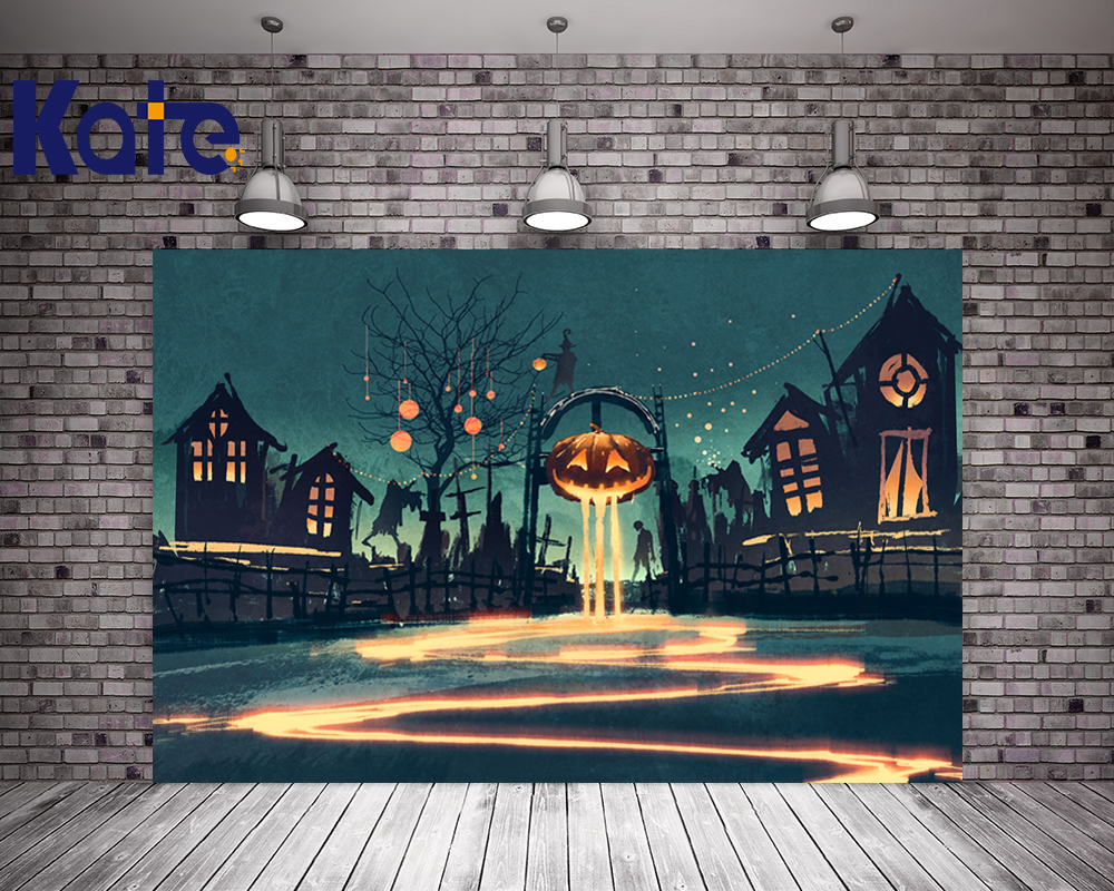 Kate Halloween Backdrop Photography Castle Background Pumpkin Ghost Backdrops Children Halloween Background
