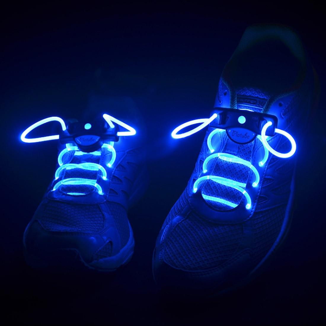 Hot! 2pcs! Fashion LED Shoelaces Shoe Laces Flashing Light Up Glow Stick Strap Neon Shoe Strings Luminous Laces Disco Party
