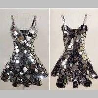 Сценические костюмы для певцов цельный платье всего тела Серебряный объектив зеркало Roupa Feminina Бейонсе зеркало платье горный хрусталь боди
