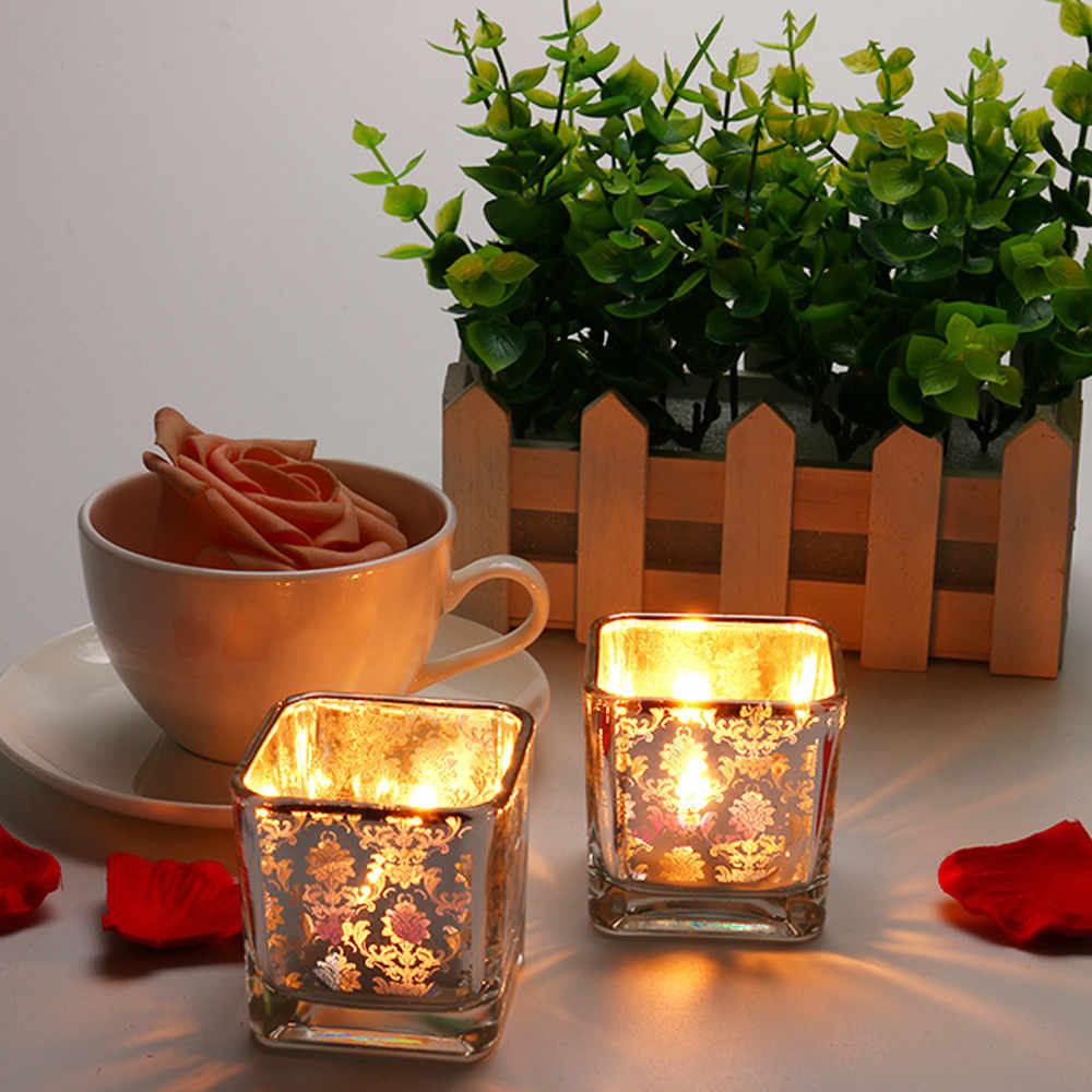 moroccan lanterns Simple Floral Light Gold Square Glass Candlestick Romantic Candlelight Dinner glass candle holder