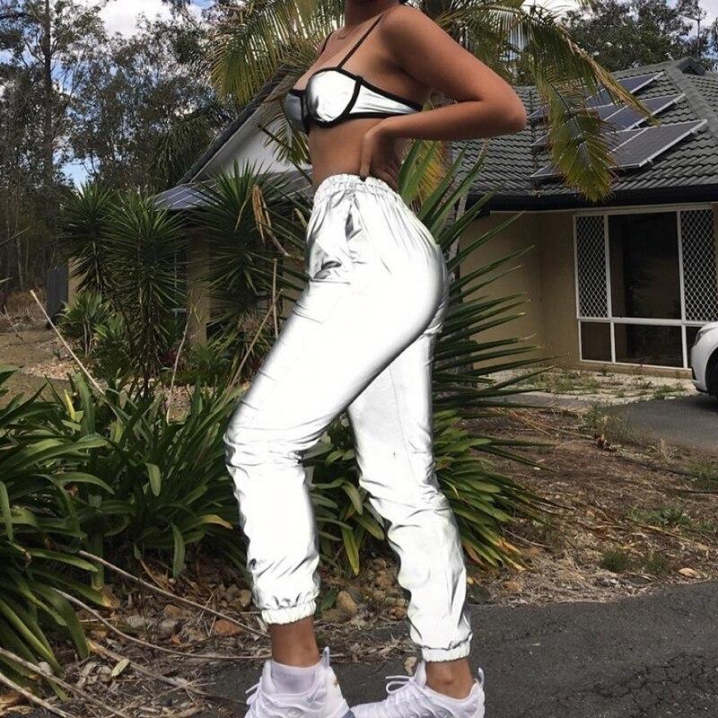 Pantalones reflectantes de mujer de cintura alta Hip Hop Harem pantalones de chándal de mujer 2019 pantalones sueltos de mujer Pantalon mujer Joggers