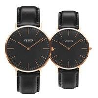 Suíça Nesun Assistir Homens & Das Mulheres Marca De Luxo Japão MIYOTA Movimento de Quartzo Relógios do Amante relógio de Couro Genuíno N8801 LL2 clock brand watch brand watch brand men -