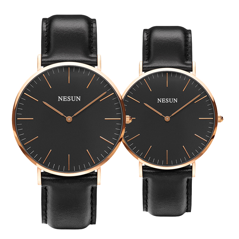 Switzerland Nesun Watch Men & Women Luxury Brand Japan MIYOTA Quartz Movement Lover's Watches Genuine Leather Clock N8801-LL2