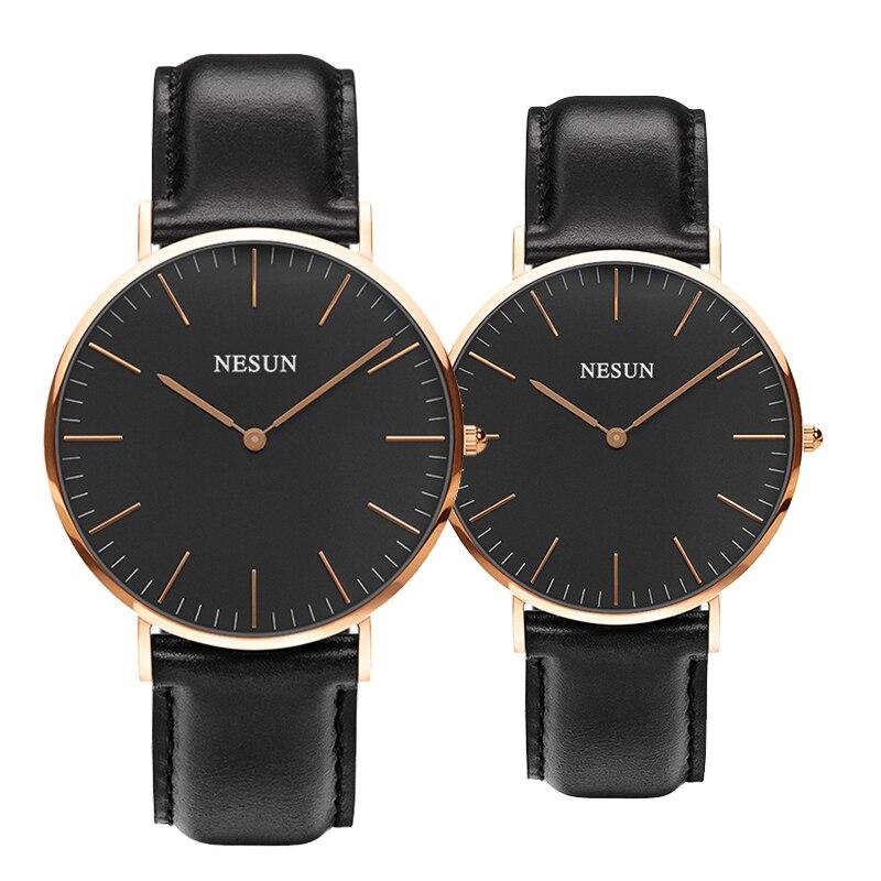 Marca de Luxo Movimento de Quartzo Relógios do Amante Relógio de Couro & para Mulheres Suíça Nesun Assistir Homens Japão Miyota Genuíno N8801-ll2